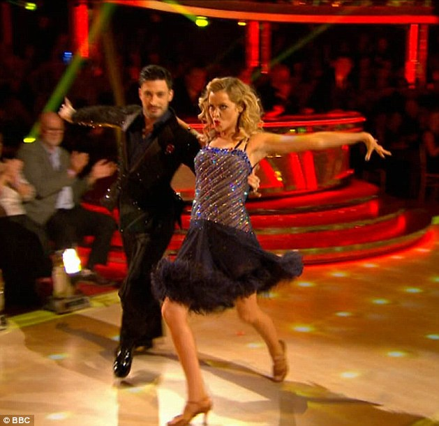 Onwards and upwards: She struggled to fight back tears after an awkward timing issue during her samba to the Gipsy Kings' Bamboleo with partner Giovanni Pernice