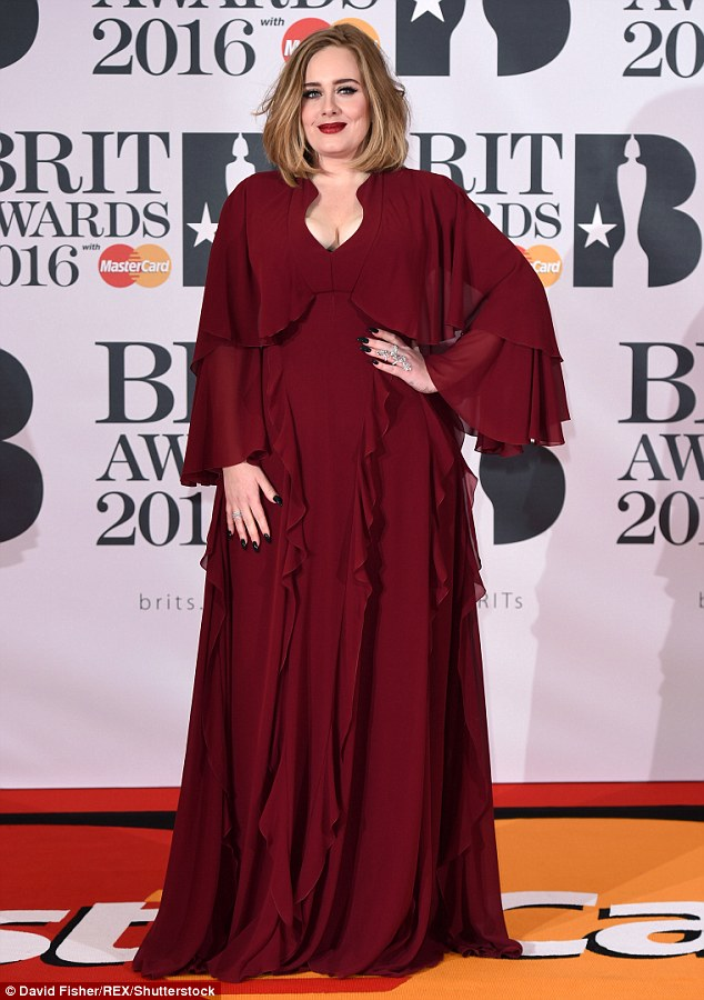Snub: Adele, pictured at the Brit Awards earlier this year, received four nominations but came away with no awards