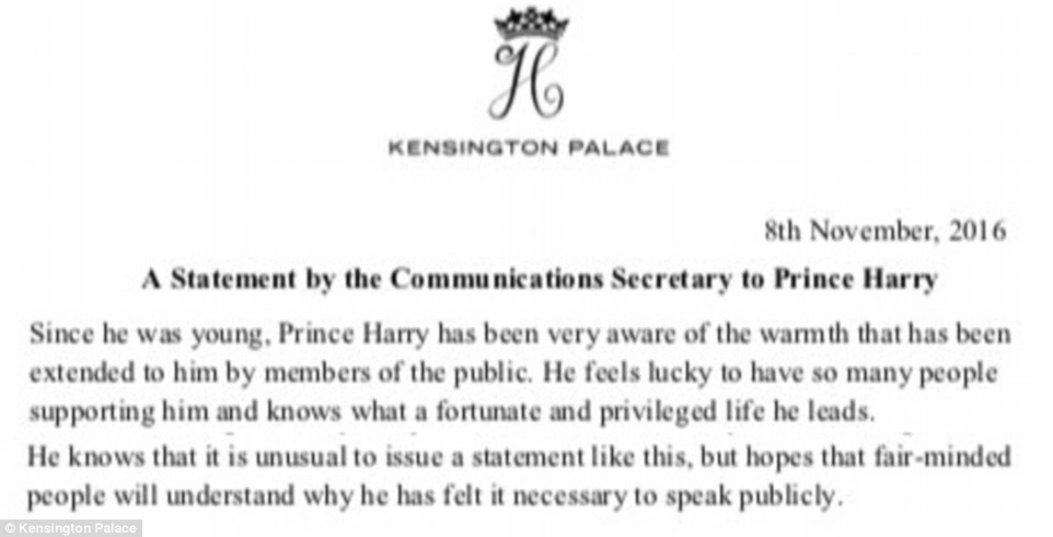 A section of the statement issued at about 10am in response to growing royal concern about the welfare of Miss Markle