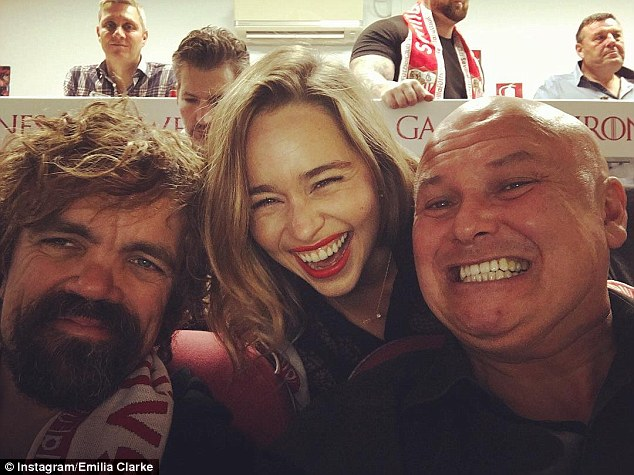 Football crazy! Game Of Thrones' Emilia Clarke posed for a fun selfie with Peter Dinklage and Conleth Hill as they spent the afternoon in a VIP box at the Sevilla vs Barcelona football match