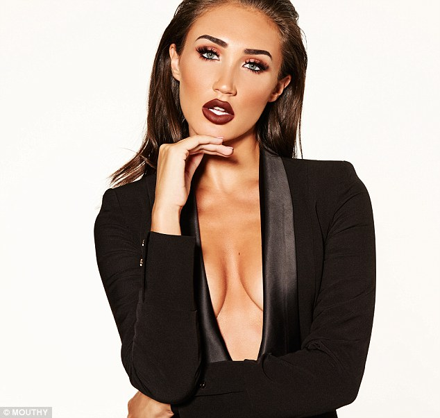 Getting lippy: Megan McKenna, 28, proved to be ever so kissable as she launched her new beauty range, Mouthy, alongside a sizzling photoshoot