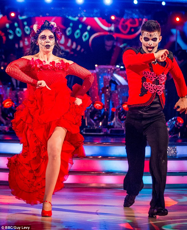 Dream come true:The model admitted she was never tried out theatre acting due to  stage fright - but that dancing on the show with Aljaz Skorjanec (above) has helped to build her confidence