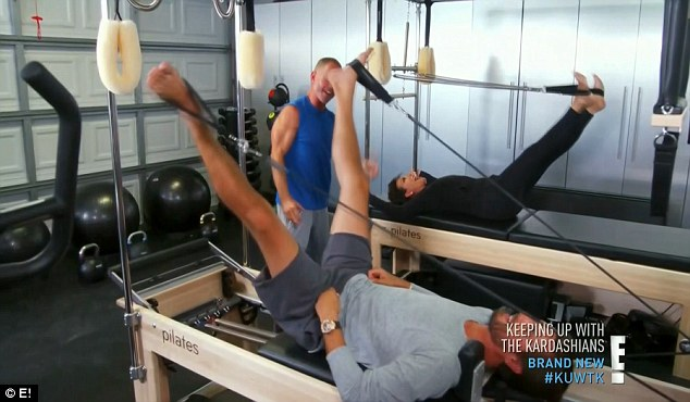Group workout: Scott Disick joined Kris Jenner for a pilates session
