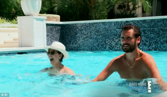 Water aerobics: Scott joined Kris and her friends for water aerobics