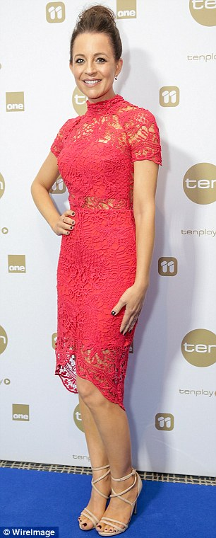 Red hot! The Project co-host Carrie Bickmore cut an elegant figure in a lace red dress