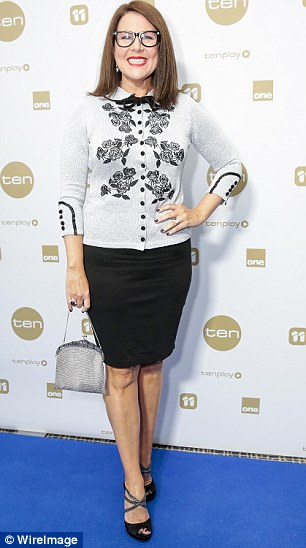 All smiles: TV presenter Julia Morris opted for a grey floral and a pitch black skirt