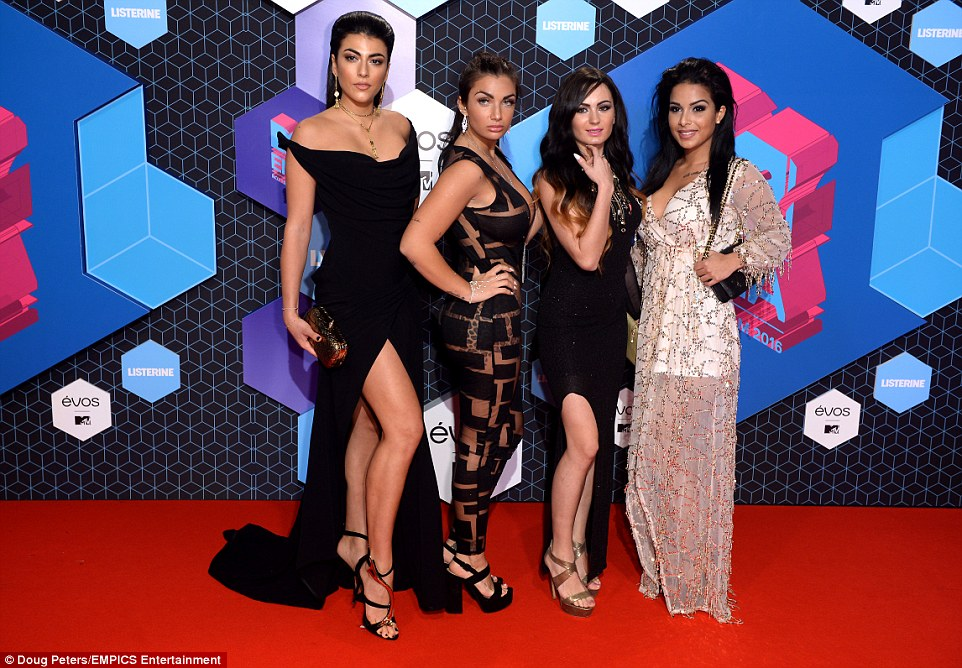 Back to reality: Stars of the Spanish reality show Super Shore cut a rather striking mix on the red carpet