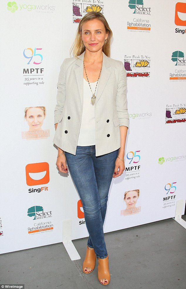 Sick: Cameron Diaz has revealed she was 'so scared' before the release of her book 'The Body Book: Feed, Move, Understand and Love Your Amazing Body'