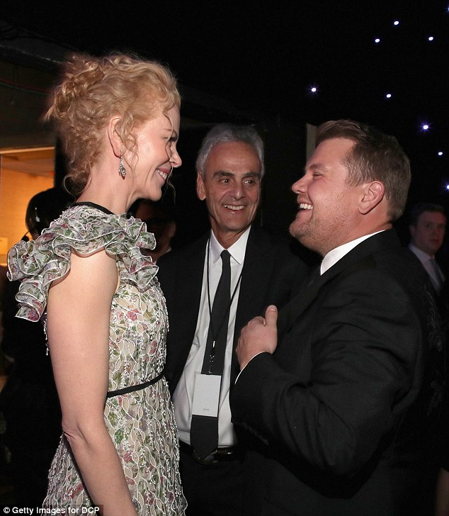 Smiles all round: Nicole also seemed delighted to chat with host James Corden