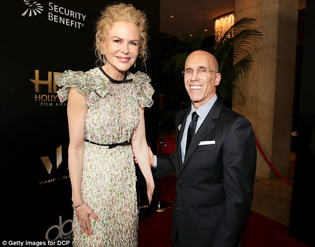Future project: Nicole shared a laugh with the CEO DreamWorks Animation, Jeffrey Katzenberg