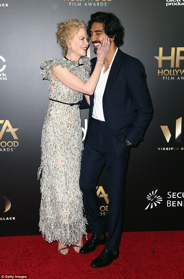 Mother and son! Nicole Kidman shared a sweet moment with her Lion co-star Dev Patel as she was honoured at the Hollywood Film Awards on Sunday night