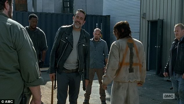 Busted: But he was quickly surrounded by Negan and his men