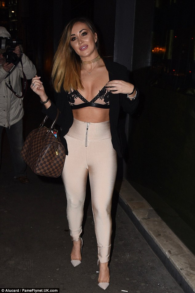 Taking centre-stage:The younger sister of Ex On The Beach's Chloe Goodman, 23, flashed her abs in skintight nude leggings to celebrate the fourth anniversary of the bar