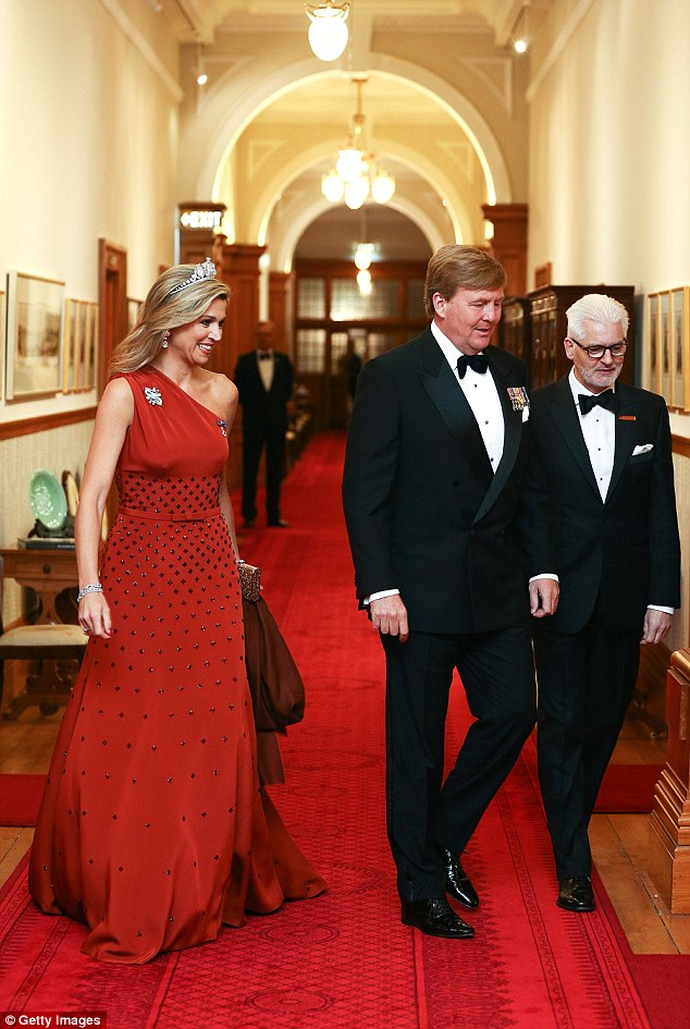 Fashion risk: The gown hugged the mother-of-three's trim waist and fell elegantly to the floor