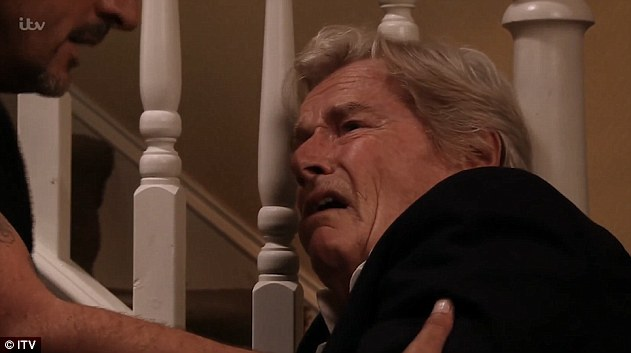 Fighting for life: Corrie's Ken Barlow (Bill Roache) was left fighting for his life after suffering a stroke in Monday night's episode