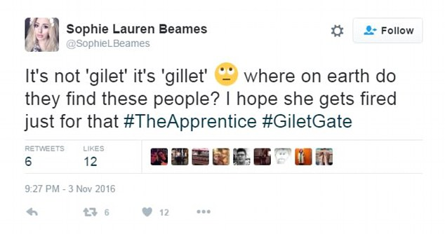 'Gilet gate': Another viewer despaired at the candidates but her wish did not come true