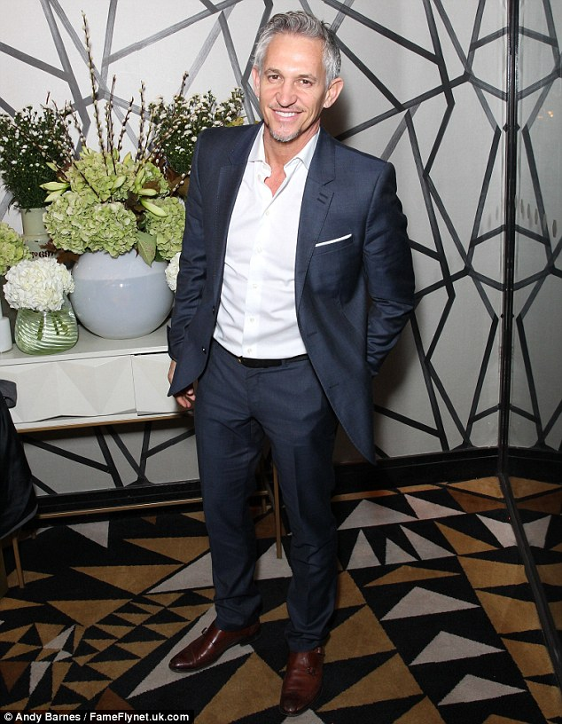 Dapper gent: Anthea wasn't the only famous face stepping out at the event, held in celebration of Fight for Life's 20th year, as the charity's patron Gary Lineker was also on hand