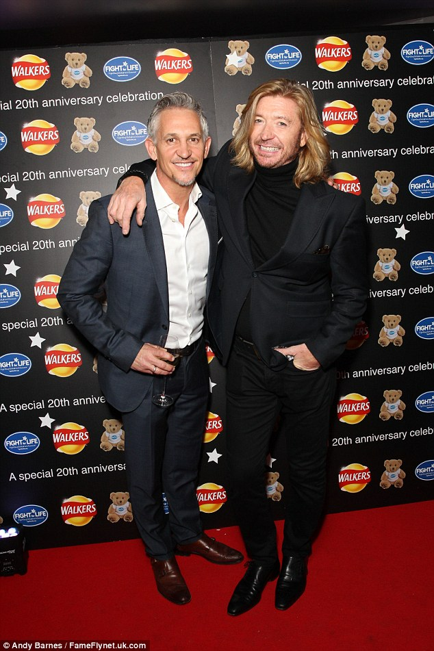 Smiles all round: Clearly delighted to be at the bash, the 55-year-old presenter flashed a winning smile as he arrived alongside the likes of hair stylist Nicky Clarke and Bobby Davro