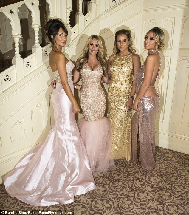 Glitz and glamour: Once inside, Megan dragged herself away from Pete's side to pose for snaps with the gorgeous Kate Wright, Georgia Kousoulou and Amber Dowding