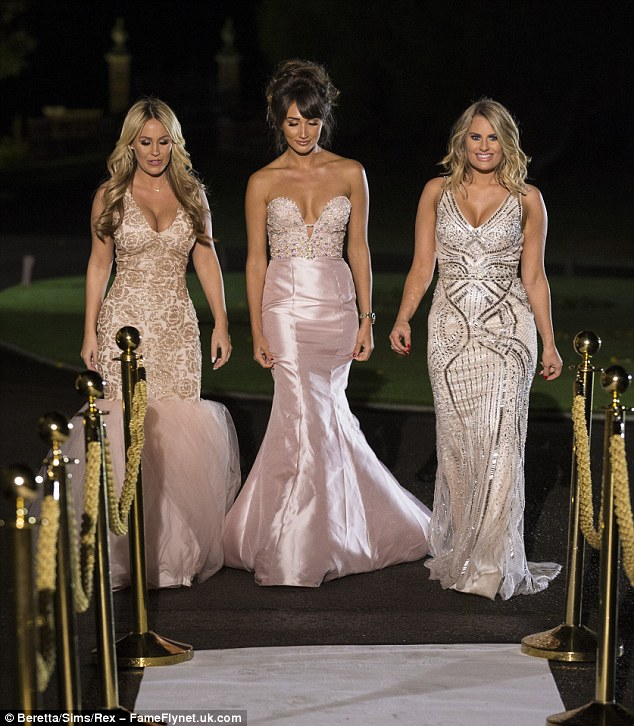 Making an entrance: The trio wowed in their gorgeous ensembles as they walked into the lavish house to film the series finale, which will air on Wednesday