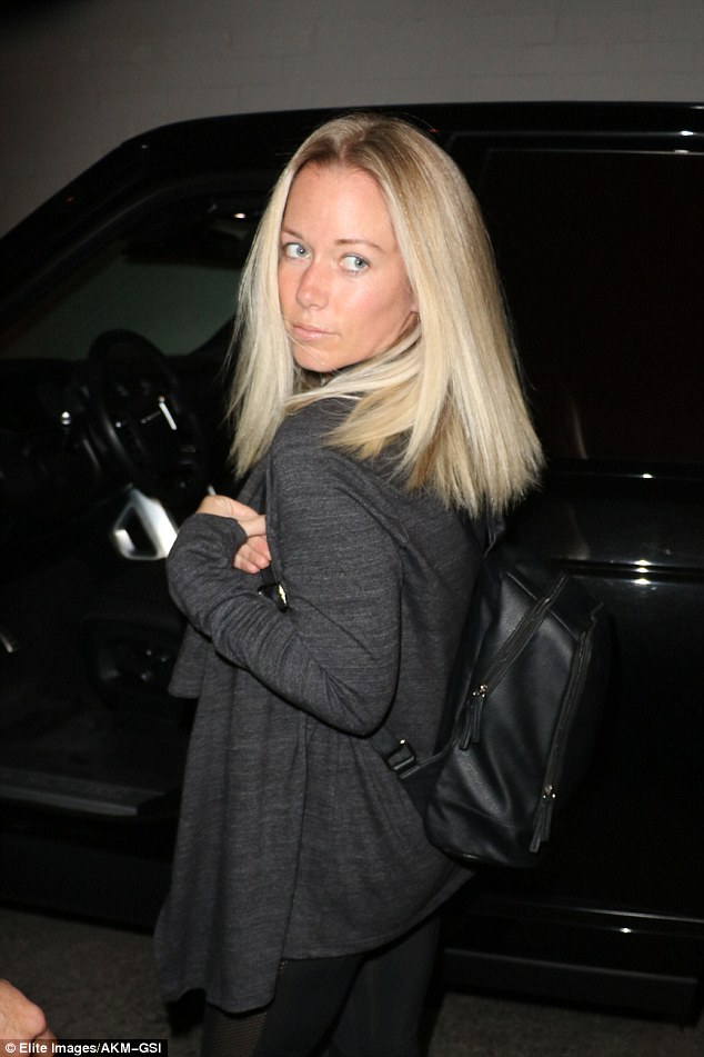 Don't tread on me: Kendra Wilkinson, 31, emerged from a Beverly Hills hair salon Monday, after seven hours inside, following a profane Instagram rant aimed at those criticizing her son's shaggy hairdo