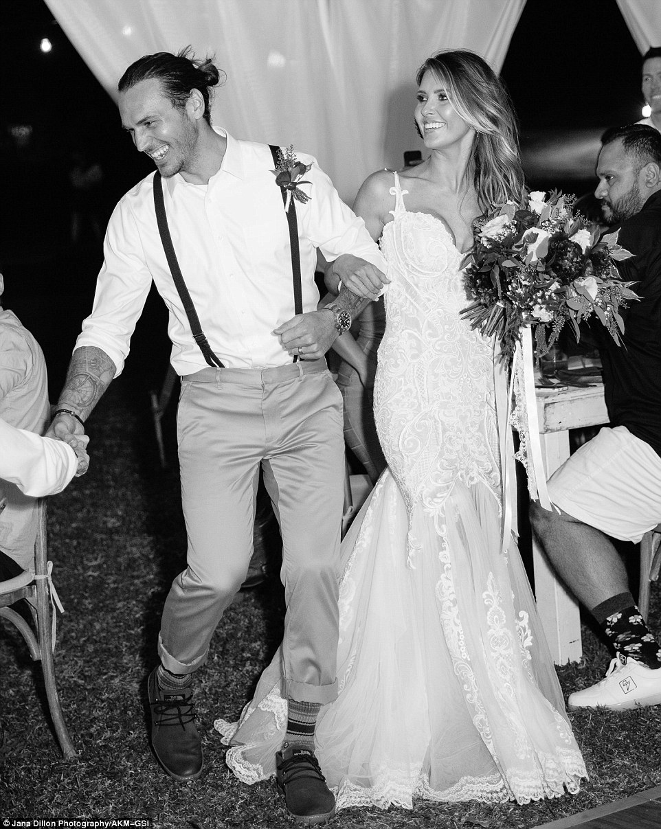 Dressed to impress: Audrina' represented her new husband's country by wearing an Australian designer, Pallas Couture