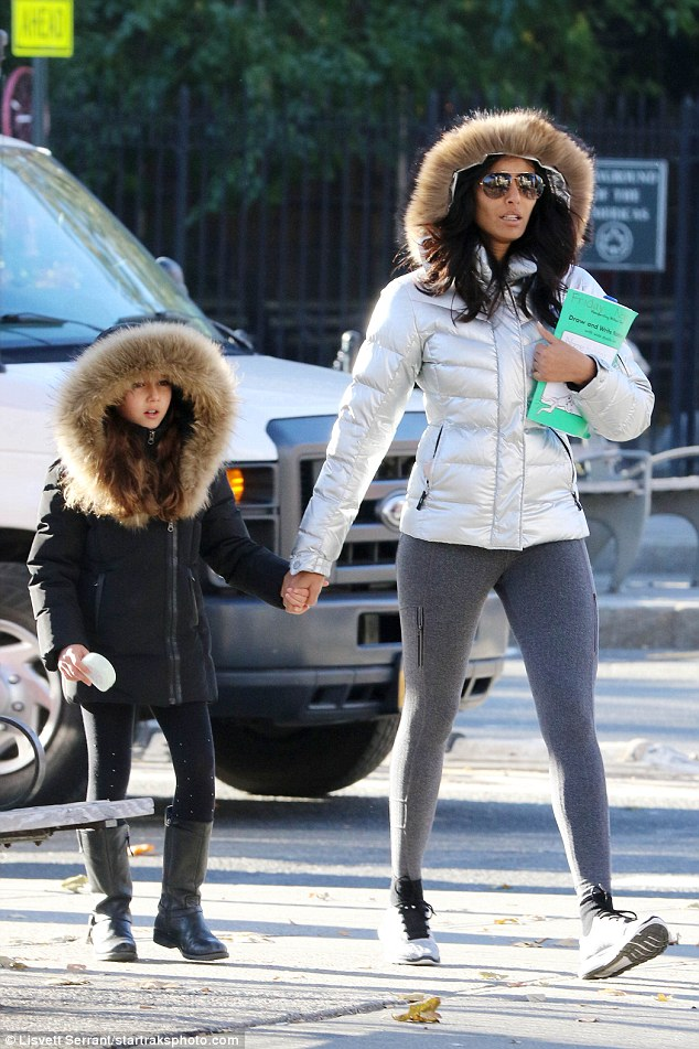 Ready:Padma Lakshmi looked winter chic as she was seen taking her daughter to school in New York City on Monday