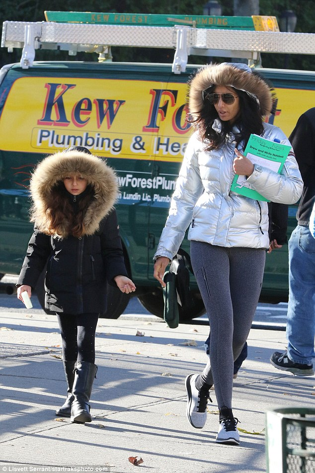 Fashionista:Her six-year-old daughter, who she shares with Adam R. Dell, Krishna was wearing the same coat but in black