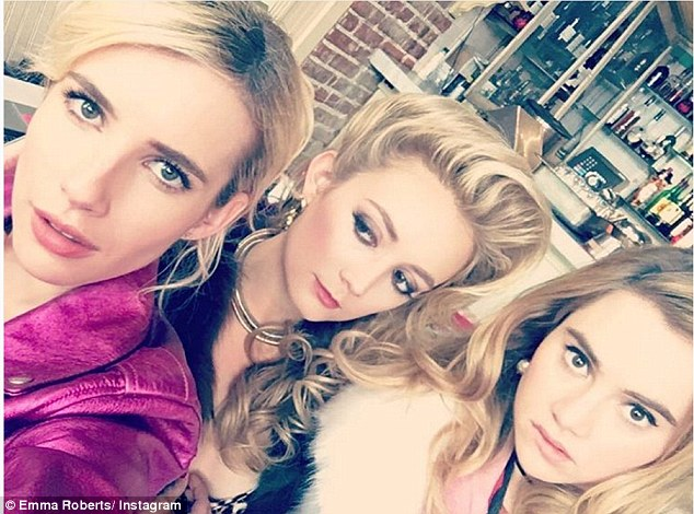 Screen beauties: On Sunday Emma was on set with Suki Waterhouse and her Scream Queens co-star Billie Lourd as the trio filmed upcoming movie Billionaire Boys Club