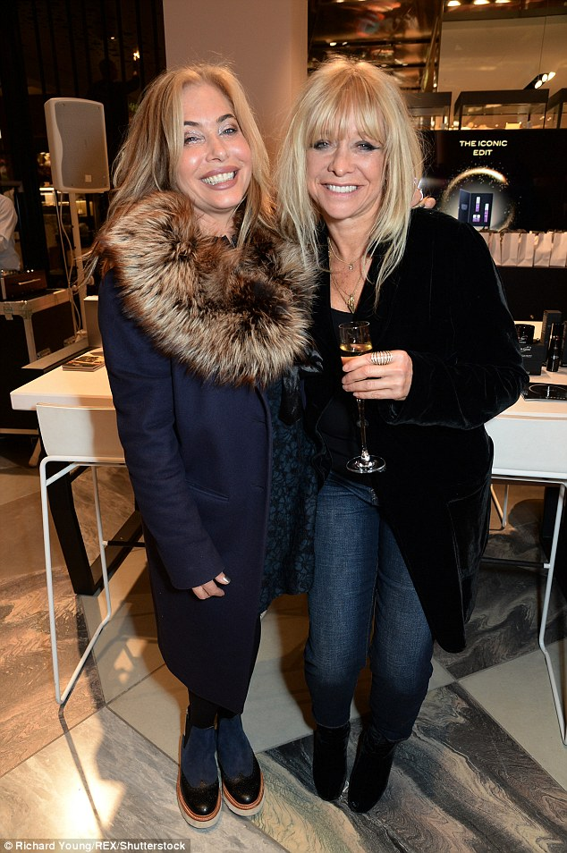 So what if it's Monday? The 61-year-old beauty, ex-wife to Rolling Stones legend Ronnie Wood, socialised with American singer Brix Smith, 53, who kept warm in a faux fur navy coat
