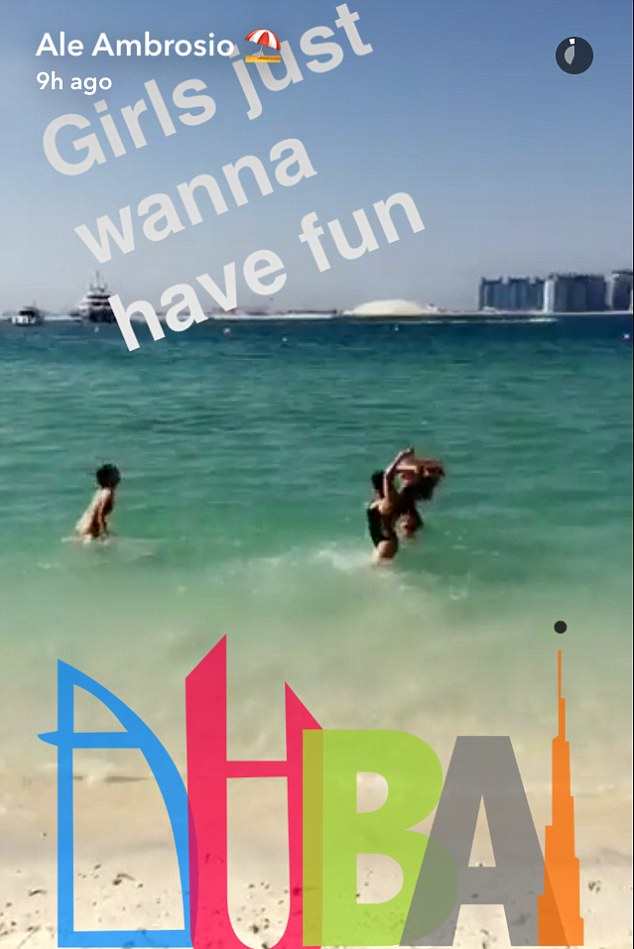 'Girls just wanna have fun': She also shared a snap of she and her two gal pals splashing around