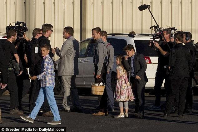 Counting on: The nuptials were filmed for an upcoming TLC special (film crew above)