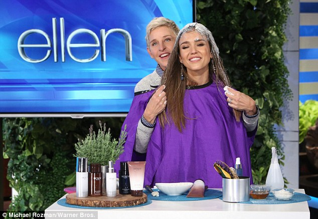 'Oh god!' Moments after boasting about how she 'doesn't need to go to the gym,' Jessica Alba was humbled with a compromising hair skit on Monday's The Ellen DeGeneres Show