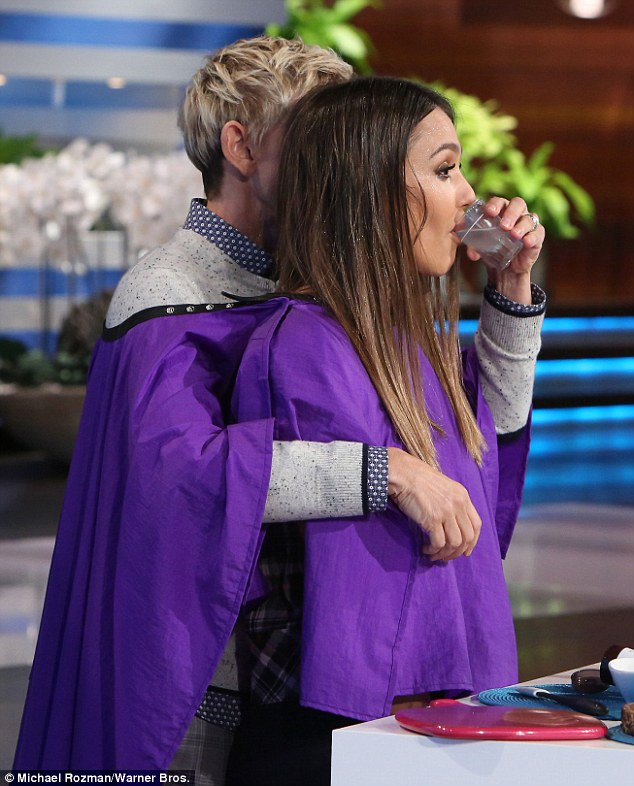 "Ellen held a tumbler to Jessica lips as she read: 'And here's a little secret, I keep a little shot of tequila on my vanity. And ""Mommy thirsty!""'"