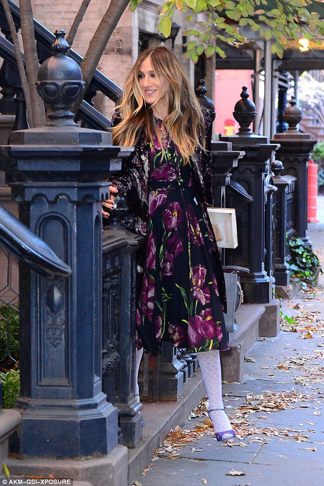 Working hard:The actress was heading out to Good Morning America to chat about her new HBO series Divorce