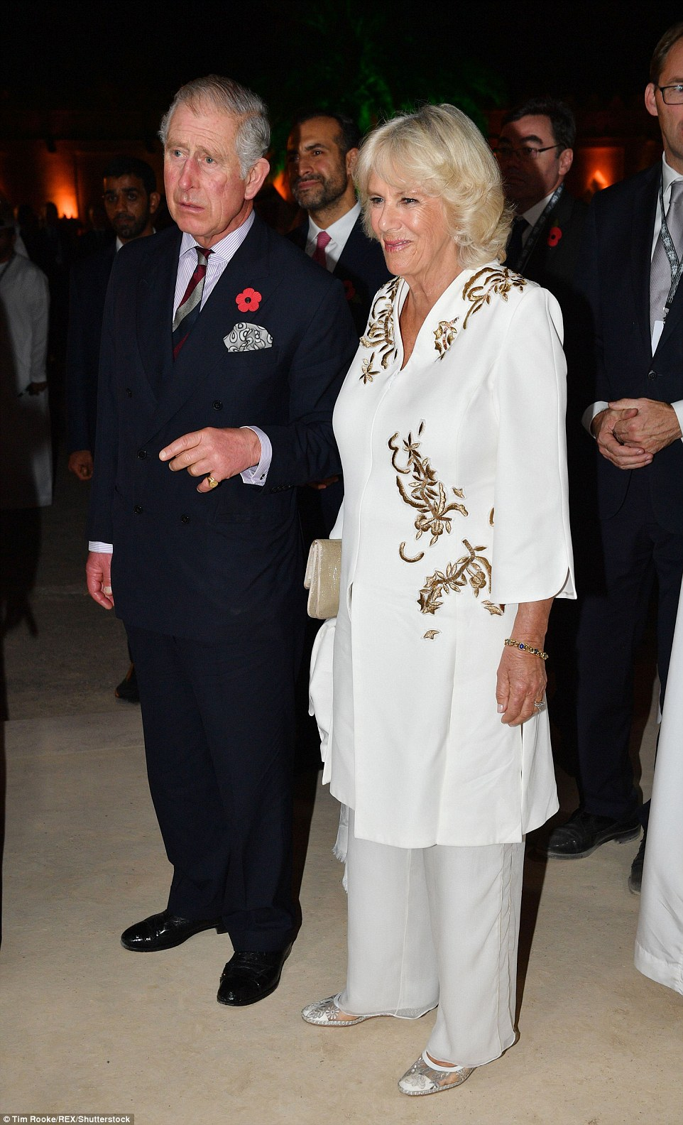 Night on the town! Despite their hectic schedule Prince Charles and Camillaappeared to be full of energy as they attended a glittering event on in Abu Dhabi Monday night