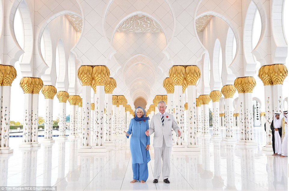 The royal pair looked delighted to be visiting the landmark,which was established in 2008 and sits at the entrance to Abu Dhabi City Island