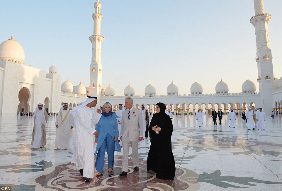 The Duchess of Cornwall and Prince of Wales were shown around the spectacular religious site, which was erected eight years ago