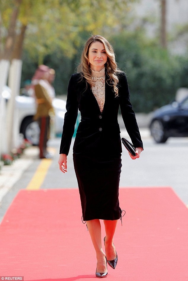 Queen Rania of Jordan arrives for the 18th state opening of parliament in Amman earlier today
