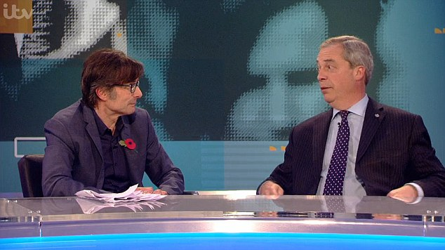 ITV's Robert Peston asked Nigel Farage if he would accept a job from Donald Trump if the Republican wins the US Presidency, to which the interim Ukip leader said:'If he did offer me a job I would quite like to be his ambassador to the European Union'