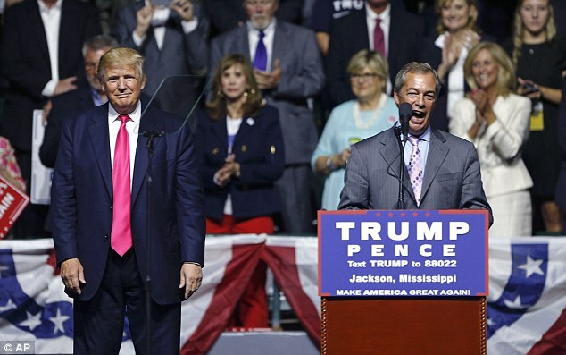 Nigel Farage joined Mr Trump on stage in August at a rally in Jackson in Mississippi, pictured, where the Republican nominee introduced him as 'Mr Brexit'