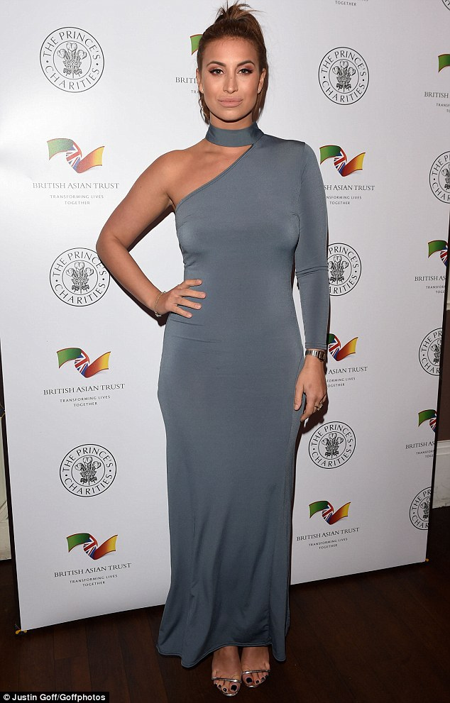 Glamour girl: Ferne McCann, 26, turned heads in a beautiful grey maxi dress at the Elbrook Gala Dinner, in aid of the British Asian Trust, on Thursday night