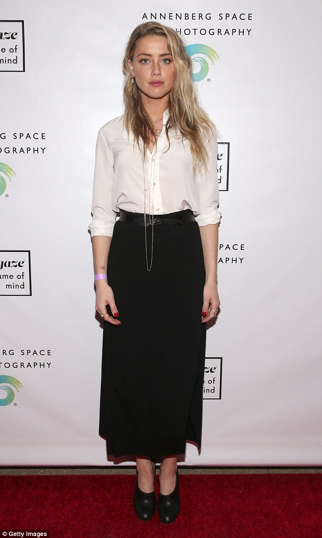 Magnificent: Amber Heard, 30, was her gorgeous self as she attended #girlgaze: a frame of mind in Los Angeles on Friday