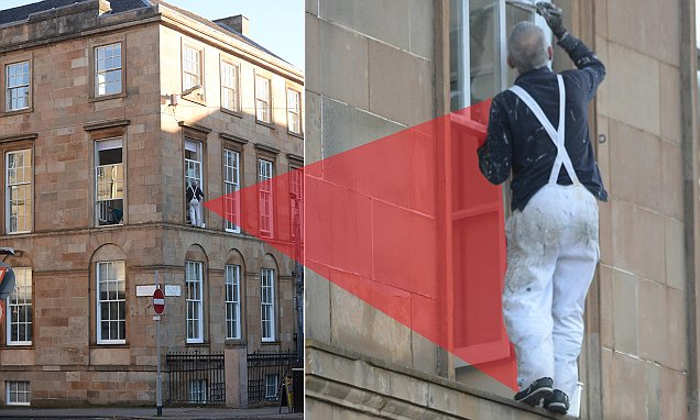 Glasgow painter dices with death on a window frame 20ft above the ground