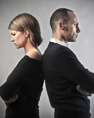 Angry couple turning their back on each other; Shutterstock ID 96492569