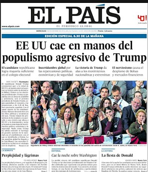 El Pais in Spain carried a picture of stunned Hillary Clinton supporters