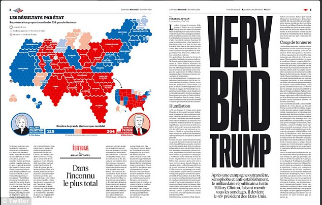 France's Liberation newspaper ran with the headline 'Very Bad Trump', echoing concerns in the French administration over the Republican's election