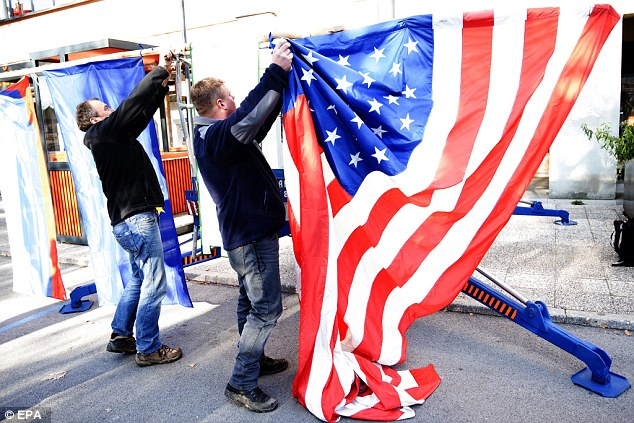 A US flag is hoisted in the small town of Sevnica, Slovenia, the birthplace of Trump's wife Melania