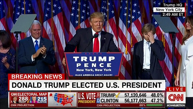 Donald Trump appeared onstage in New York in the early hours of Wednesday after he swept to a stunning victory