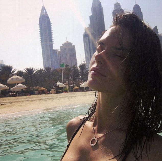 Sunkissed: The 35-year-old beauty shared a rather saucy snap on Instagram on Sunday from her Middle Eastern trip which was sure to highlight her model features